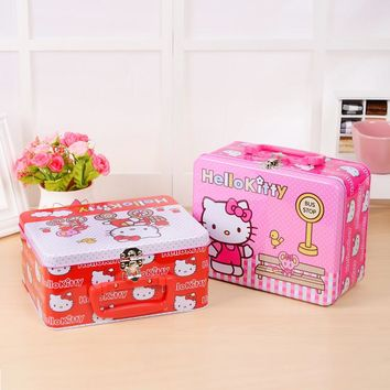 0256c615316d Boutique Hello Kitty Iron Tin Gift Box Large Candy Box Jewelry Box Storage  Makeup Organizer Organizador