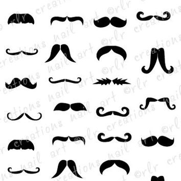 30 Mustache Assortment Water Slide Nail Art Decals Cute Nail Art Designs Mustache Nail Decals