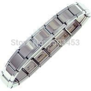 Men's Stainless Steel Bracelets Cuff Bangle Bracelets 18 Links Starter Bracelet Italian Charm