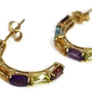 14k Multi Gemstone Demi Hoop Earrings