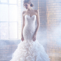 Hot Sale Tulle Ruffles Organza Mermaid Wedding Dresses 2017 Sweetheart Appliques Backless Sweep Train Off Shoulder Bridal Gowns