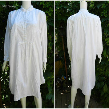 Vintage Victorian White Cotton Nightgown, Peasant Style Floral Night Dress, Size L Cotton Long Sleeved Gown