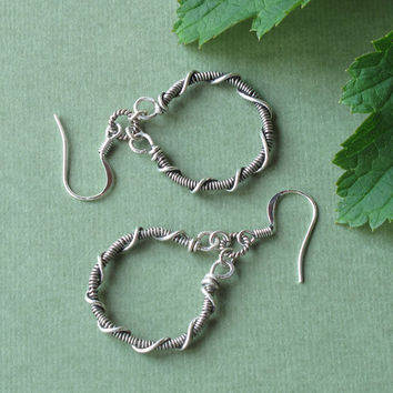 Silver hoop earrings - handmade wire wrapped