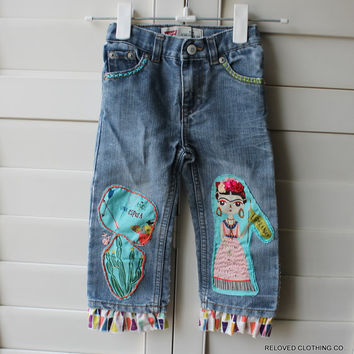 Baby Frida Boho Clothing / Toddler Upcycled Vintage Levi Red Tag Jeans / Infant Tattered Jeans / 18 months / Reloved Clothing Co