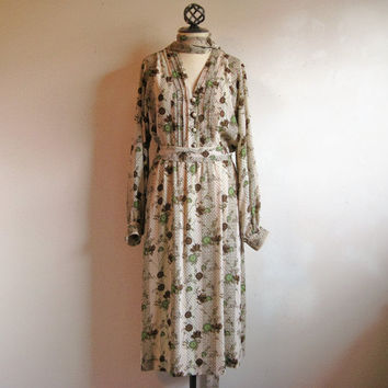 Vintage 1980s Dress Cafe au Lait Olive Floral Dress Chiffon Secretary Dress 14