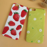 Unique Strawberry Chrysanthemum Solid Case Cover for iPhone 6 6s Plus Gift