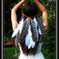 Soaring Eagle, feather, headband, boho, gypsy, coachella, tribal, belly, dance, music, festival, headress,  acesessories, wedding, bohemian
