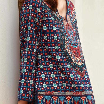 Multi-color Ethnic Print Long Sleeve Vintage Top