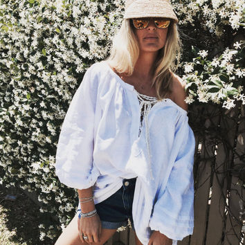 AMALFI Top, White Smock Top with Rope Ties and Pin Tuck detail - Lace Up Blouse, Loose Fitting Shirt / Bell Sleeve