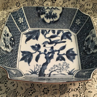 Oriental Blue and White Porcelain Bowl, Japanese Bonsai Tree, Oriental Bowl with Floral Panels, 8 inch Oriental Bowl