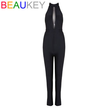 Halter Neck Mesh Backless 2017 Sexy New Arrival Rayon Bandage Full Length Jumpsuits