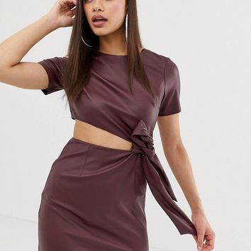 ASOS DESIGN faux leather mini dress with cut out side at asos.com