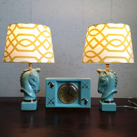 Aqua Unicorn Lamps with Matching Clock