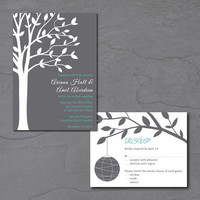 Tree Wedding Invitation, Printable Wedding Invite with Paper Lantern Wedding RSVP, Outdoor Wedding