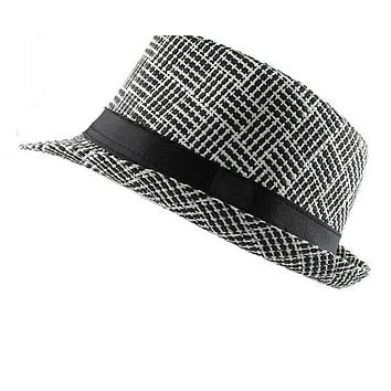 Trendy Unisex Side Fedora Trilby Gangster Cap For Women men Summer Beach Sun Straw Panama Hat Men Fashion lattice Hats
