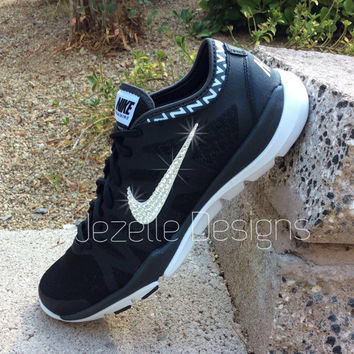 Bling Nike Shoes - Black  - Women's Nike Flex Supreme TR3 - w/ Swarovski Crystals - The ULTIMATE Glitter Kicks Nike! | Jezelle Designs