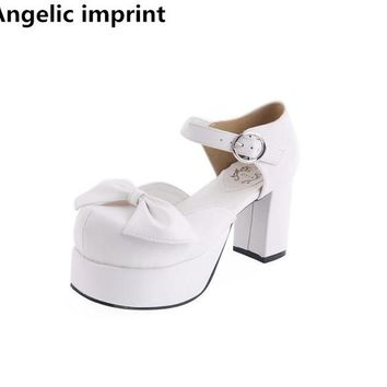 Angelic imprint woman mori girl lolita cosplay shoes lady high heels pumps women princess white dress party shoes 8cm 33-47 bows