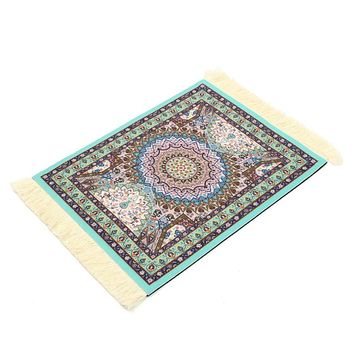 Gaming Mouse Mat Cotton Persian Style Woven Rug Mouse Pad Carpet Mousemat With Fringe For Home Decor Craft Gift 18X28CM