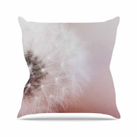 "Chelsea Victoria ""Dandelion Dreams"" Floral White Outdoor Throw Pillow"