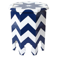 Abbe Octagonal Table, Navy/White