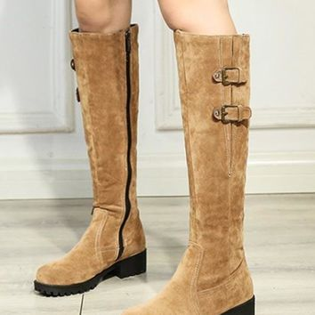 New Brown Round Toe Flat Fashion Knee-High Boots