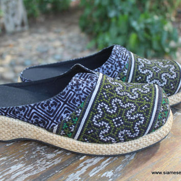 Vegan Womens Clogs Embroidered & Indigo Batik Hmong Shoes