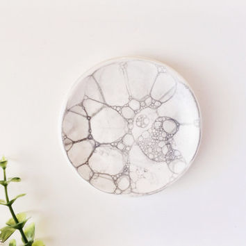 Gray Bubbled Ring Dish - Ring Holder - Jewelry Dish - Gray Home Decor - Ceramics and Pottery