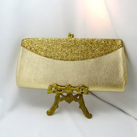 Wide Two Tone Gold Clutch Convertible Chain Snap Closure 1970's Vintage Collectible Gift Item 2356
