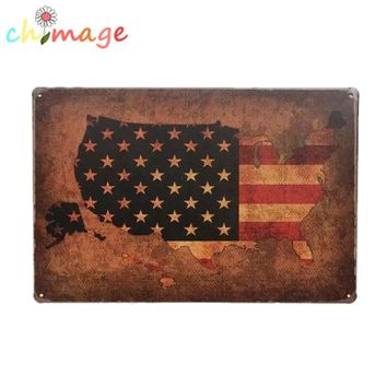 UNITED STATES FLAG MAP Vintage Tin Sign Bar pub home Wall Decor Retro Metal Art Poster
