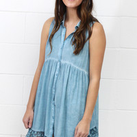 Lace Trim Washed Button Up Tunic Dress {L. Blue} EXTENDED SIZES