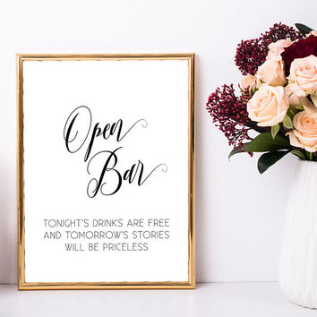 Bachelorette party decoration, Open bar sign printable, Wedding sign, Funny bar sign Alcohol sign, Wedding shower decoration, Print download
