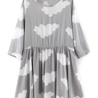 Gray Clouds Printed Shift Dress