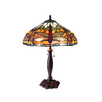 "Pantala, Tiffany-Style 2 Light Dragonfly Table Lamp 18"" Shade"