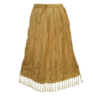 Mogul Women's Skirt Tassel Trim Mustard Embroidered Rayon Skirts - Walmart.com
