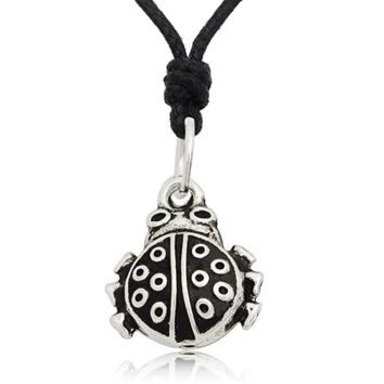 Vintage Ladybug 92.5 Sterling Silver Pewter Brass Charm Necklace Pendant Jewelry