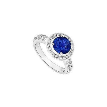 Sapphire and Diamond Halo Engagement Ring : 14K White Gold - 1.50 CT TGW