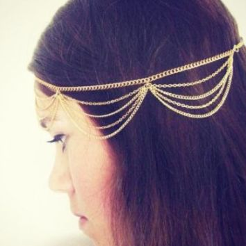 Generic Fashion Lady Women Girl Muti Layers Tassels Headband Link Chain Cuff Headpiece(Gold)