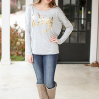 Grey and Gold Wifey Top