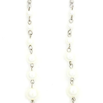 Dangling Faux Pearls Earrings Silver Tone EK43 Dangle Chandelier Fashion Jewelry
