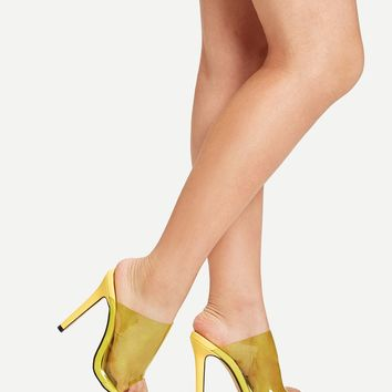 Peep Toe Clear Stiletto Heeled Mules