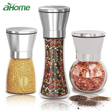 Salt Pepper Grinder Herb Mills pepper Muller Adjustable Coarseness Stainless Steel Glass Spices Shaker Kitchen Shredder Chopper