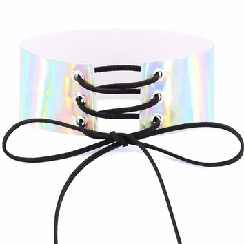 Lace Up Holographic Choker Necklace