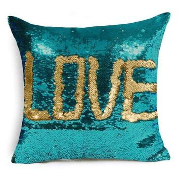 """16""""x16"""" with INSERT Mermaid Flip Sequin Pillow that Changes Color Reversible Pillow with Sequins Perfect Color Changing Throw Pillow Square for Home Decor Great Gift for all Aqua Gold"""
