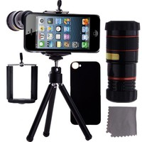 CamKix iPhone 5 Camera Lens Kit - 8x Telephoto Lens / Mini Tripod / Universal Phone Holder / Hard Case for Apple iPhone 5 (Black)