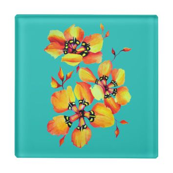 Elegant Orange Flowers - Aqua Glass Coaster