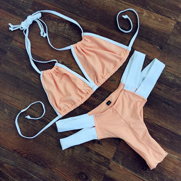 V-Neck Halter Stitching Bikini Swimsuit