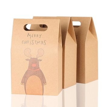 1Pcs Kraft Paper Xmas Party Cookies Candy Present Gift Bag Luxury Wedding Bag Christmas Candy Box