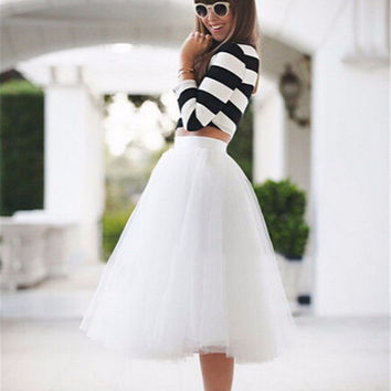2016 New Real Photo Cheap Tulle Tutu Skirt White 5 Layers Fluffy Midi Pleated Skirts Womens Faldas Saia Cintura Alta