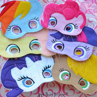My Little Pony Inspired Masks MLP mask My Little Pony Felties Rainbow Dash Feltie Pinkie Pie Feltie Pony Masks