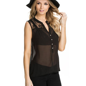 Black Sleeveless Buttons Down Chiffon Blouse with Lace Detail